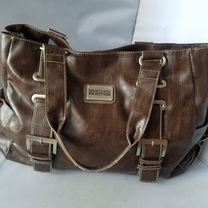 Kenneth Cole Reaction Brown PVC Tote Bag w/Buckles